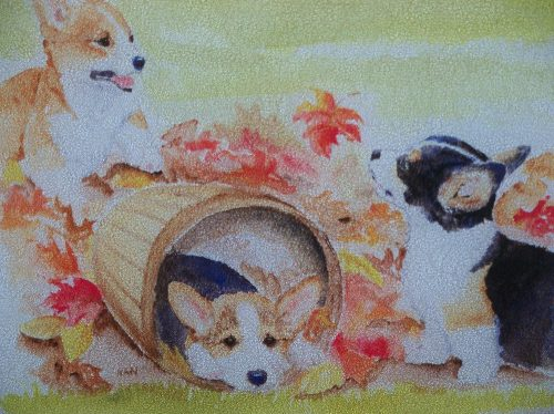 Corgi Autum Cutting Board