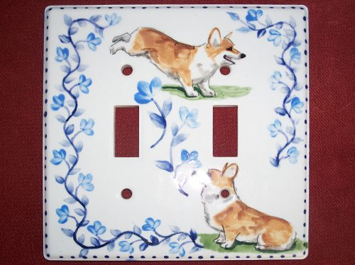 Jumping Corgi lightswitch cover