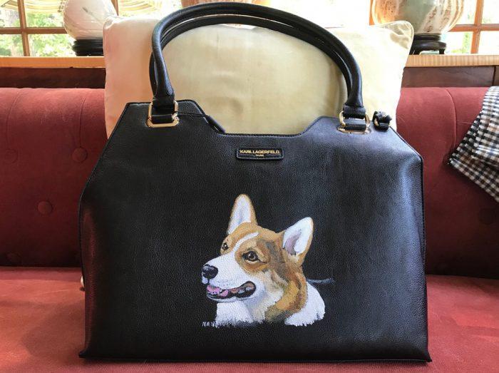 Karl Lagerfeld black handbag with Corgi head