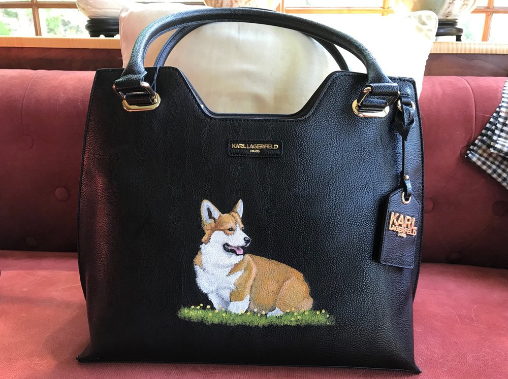 Karl Lagerfeld black handbag with sitting Corgi